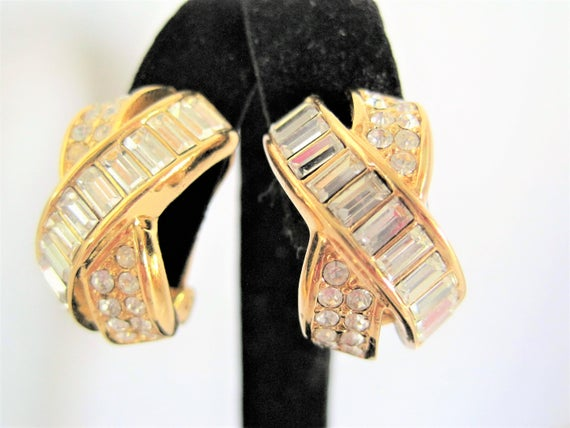Christian Dior Earrings - Pave Rhinestones - Clip Style
