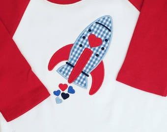 Valentine's Day Rocket Appliqué Raglan Shirt