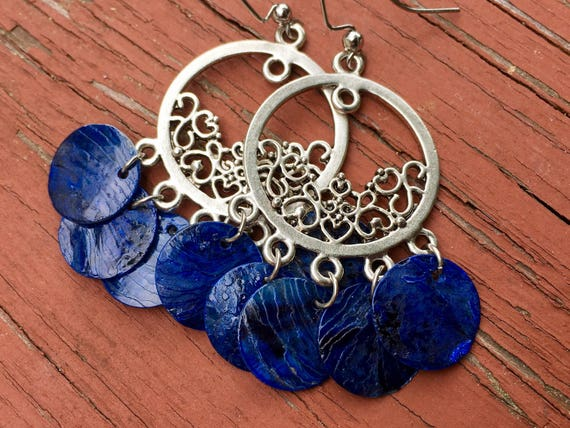 "Dark Blue ""Simply Chandelier"" Mussel Shell Earrings"
