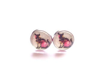 Cat Stud Earrings, Stud Earrings, Cat Lovers Gift, Crazy Cat Lady Gift, Flower Stud Earrings, Black Stud Earrings, Pink Stud Earrings