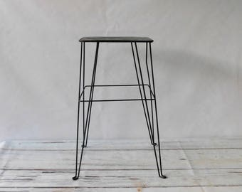Vintage Green MidCentury Plant Stand Wire Legs Plant Table Retro Plant Stand #2