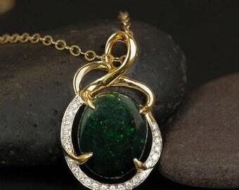 ON SALE Gold Black Opal Necklace - Green Opal Pendant - Pave Diamond Setting