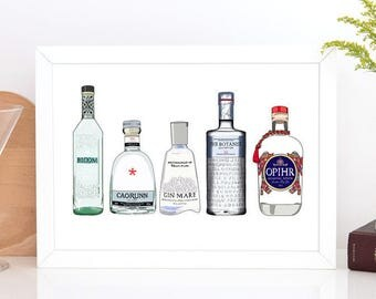 Gin Bottle Illustration Print - Art for Gin Lovers - Kitchen art - Drawing of Alcohol - Chin Chin - Gin Drawing, gin print, cocktail bottles