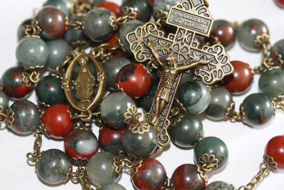 10mm Huge Bloodstone and Bronze Bead Rosary with Pardon Crucifix made Oklahoma