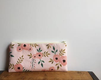 Cute Pink Floral Pencil Case, Kawaii Pencil Pouch, Toiletry Bag, Zipper Cosmetic Pouch, Back to school, Girls Flower Pouch