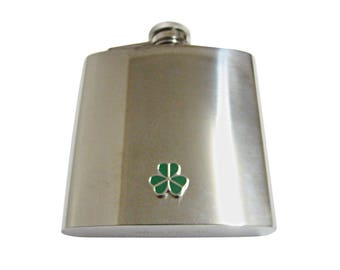 Green Shamrock Clover 6 oz. Stainless Steel Flask