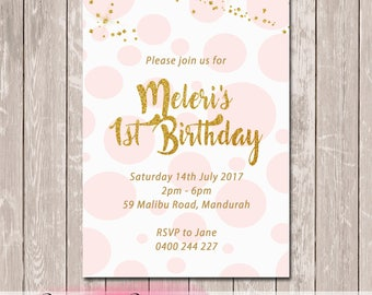 Glittery Gold Birthday Invitation - YOU PRINT