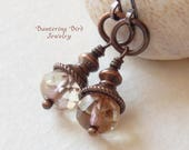 Pale Pink Faceted Glass Bead Drop Earrings with Dark Copper, Small Everyday Earrings, Artisan Copper Jewelry