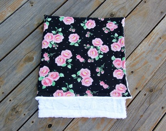 Last One Rose Baby Blanket, Boho Baby Blanket, Knit and Minky Baby Blanket, Baby Shower Gift, Stroller Blanket, Ready To Ship