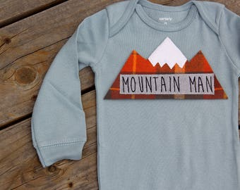 Mountain Man Baby,  Mountain Bodysuit, Baby Mountain Shirt, Colorado Baby, Snowboarding Baby, Adventure Baby, Ski Baby