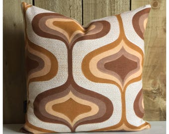 """Funky Original Vintage Brown  Psychedelic Fabric Cushion Cover 16"""" x 16"""" Retro Throw Pillow"""