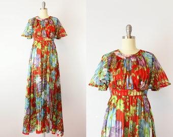vintage 70s dress / 1970s floral silk maxi dress / semi sheer embossed silk dress / striped floral dress / Monticello dress