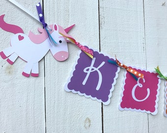 Unicorn Birthday Banner/Unicorn Garland/Custom Banner/ Name Banner/ Party Package