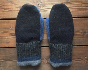 Felted Wool Mittens, Recycled from Sweaters, size Large