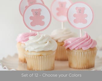 Teddy Bear Cupcake Toppers, Set of 12, Baby Shower Toppers