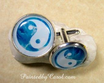 Yin Yang Cufflinks, Yin Yang Jewelry, Yin Yang Mens Gifts, Yin Yang Gifts, Zen Cufflinks, Zen Mens Gifts, Zen Bridal, Yin Yang Wedding