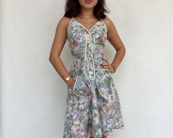 Super cute 70s floral tank dress