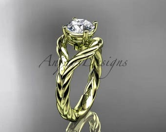 14k yellow gold twisted rope engagement ring RP8125