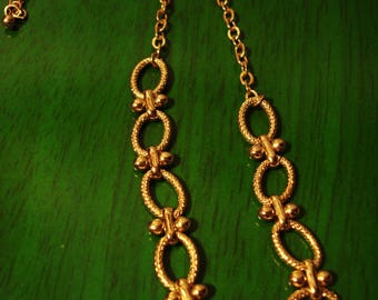 Vintage 1990s Boho Chic Oval Round and Bead Gold Chain Link Necklace