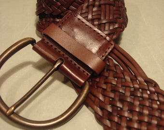 Vintage Brown Bonded Leather Weaved Belt
