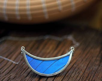Butterfly wing necklace Best statement necklace Gift insect jewelry Half moon necklace Morpho Crescent necklace Girlfriend necklace gift