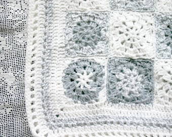 Grey Crochet Baby Blanket- Gray, White- Newborn Baby Afghan- Made To Order- Boy or Girl