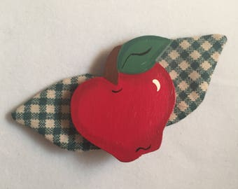 Vintage Mid-century Red Wooden Apple Brooch with Green Check Fabric Leaves