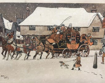 Harry Eliott engraving.The arrival of the diligence under the snow