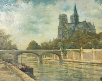 Paris painting. The Seine river and Notre Dame