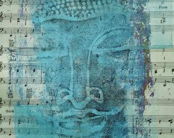Buddha Outsider art acrylic painting raw naive BRUT art YoGi chakra love turquoise blue vintage music Peace wall art meditation love