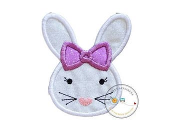 ON SALE NOW Easter bunny face with purple bow iron on for shirts, Machine embroidered iron on Easter bunny patch for girls, pre-made ready t