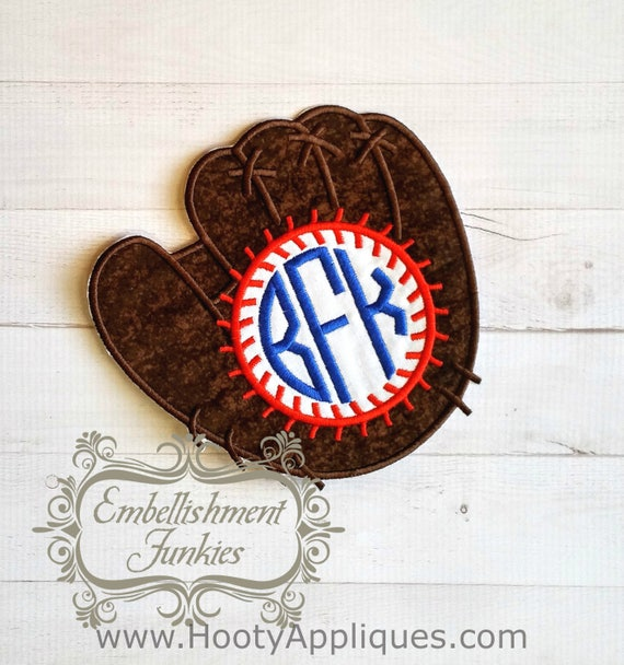 over sized monogram baseball mitt and ball iron on applique embroidered fabric baseball glove. Black Bedroom Furniture Sets. Home Design Ideas