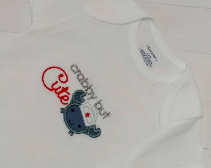 Cabby but Cute baby body suit with cute gray/blue crab and embroidered details- Pre-made, Ready to ship