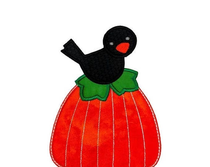 ON SALE NOW Small Black Bird on bright orange pumpkin iron on applique- Fall pumpkin and crow fabric patch- ready to ship