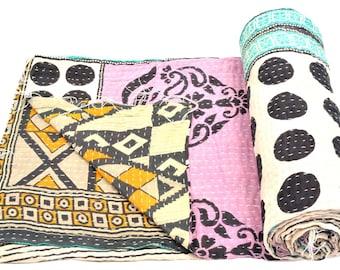Vintage Kantha Quilt Gudri Reversible Throw Ralli Bedspread Bedding India OG1034