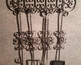 Vintage 1960s Mexico Hand Made Twisted Wrought Iron Fireplace Tools Set Wall Mounted Chic Design