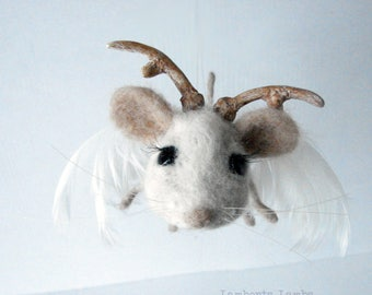 Needle Felted Mouse, Forest Mouse Spirit, Mouse Guardian, Fantasy Creature, Art mouse