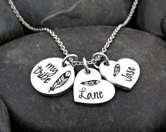 Mother's Necklace - My Tribe - Personalized with Names - Mother's Day - Mom Jewelry - Gift for Mom - Hearts - Feathers - Native American