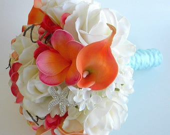 The Ashley Gone Tropcial- Coral, Cream and Soft Aqua Real Touch Bridal Bouquet- Made to Order