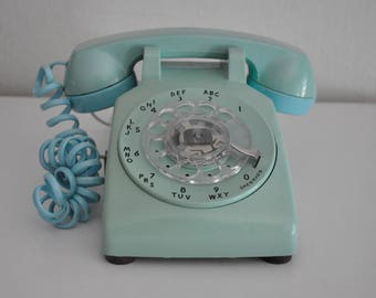 ON SALE Vintage Blue Rotary Phone Western Electric  Working Telephone 500Dm