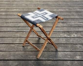 Vintage Camp Stool - Wool Seat - Cross Native Geometric Tribal
