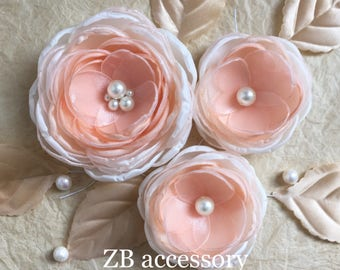 Dusky peach bridal hair dress sash ornaments, Bridesmaids shoe clips, Peach Weddings, Flower girls gifts, Dusky peach ivory hair accessories