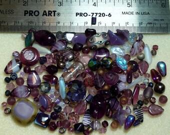 BEAD SOUP - Destash - Czech Press Glass, Art Glass, Crystals - purples - variety - beads PG919