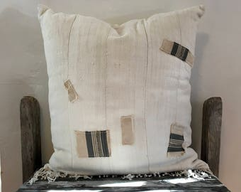 Natural Mud cloth pillow, African Patched Mud Cloth Pillow case, Hand Made, fringe off-white throw pillow with striped patches, 20x20