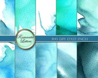 Sale 60% Watercolor digital paper Watercolor digital scrapbook background paper Watercolor background paper ocean sea beach watercolor textu