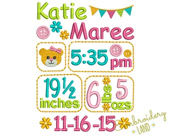 Birth Baby Girl TEMPLATE announcement embroidery designs set - Fill stitch embroidery design 3 sizes BA026
