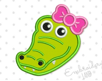 Alligator Head with Bow Applique Machine Embroidery Design 3 sizes 4x4 5x7 6x10 hoop AN038
