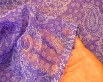 2 yard piece Sheer Paisley Print Purples Curtains Clothes Crafts Destash