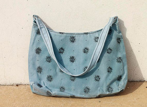 Waxed Canvas Hobo Bag in Wildflower Print, Screen Printed Handmade Purse, Waxed Canvas Hobo Handbag