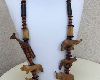 """Vintage boho African theme carved animal wood necklace beaded 17"""""""
